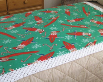 The Elf on the Shelf Anti Pill Fleece Blanket With Crochet Border-Free Standard Shipping