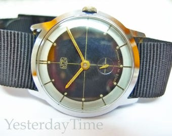 UMF Ruhla Men's Watch 1940's Black Dial German Manual Wind Movement