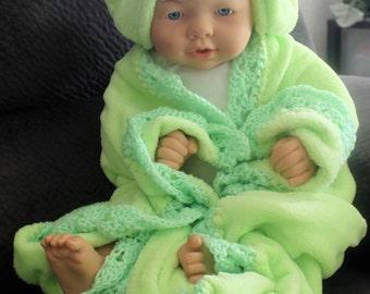 Frog Hoodie Hand Crochet Trimmed Baby Blanket