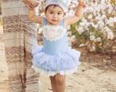 M2M Dollcake, Baby Girls Headband, I'm So Excited, French Blue, Blush, Ivory, Satin Lace Flower Headband, Vintage Baby Blue, DollCake Baby