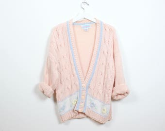 Vintage 1980s Sweater Peach Pink Cable Knit Deep V Neck Tennis Sweater Floral Embroidery Preppy Cardigan 80s Jumper Oversized M L Large XL