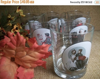 Norman Rockwell Barware Vintage 1960's Glassware Saturday Evening Post Highball Cocktail Beverage Serving Glasses Americana Tableware