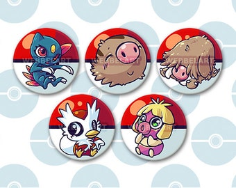 2nd Generation Ice type pokémon 38mm buttons
