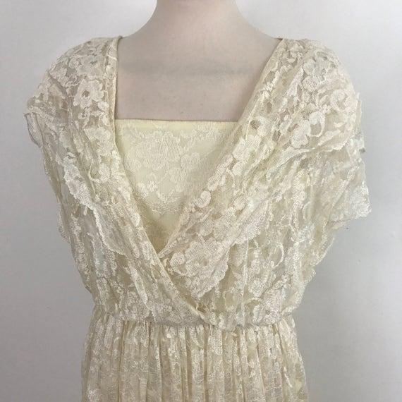 Vintage lace dress cream knee length alternative wedding dress bridal UK 6 8 lacy blouse crossover party dress 80s