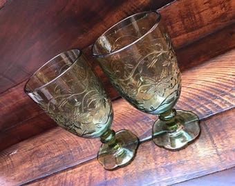 Princess House Fantasia Leaf Iced Tea Glasses/Footed Tumblers in Light Green: Set of 2
