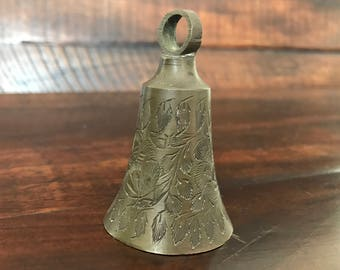 "Vintage 3"" Etched Brass Bell Stamped T.C. INDIA 712"