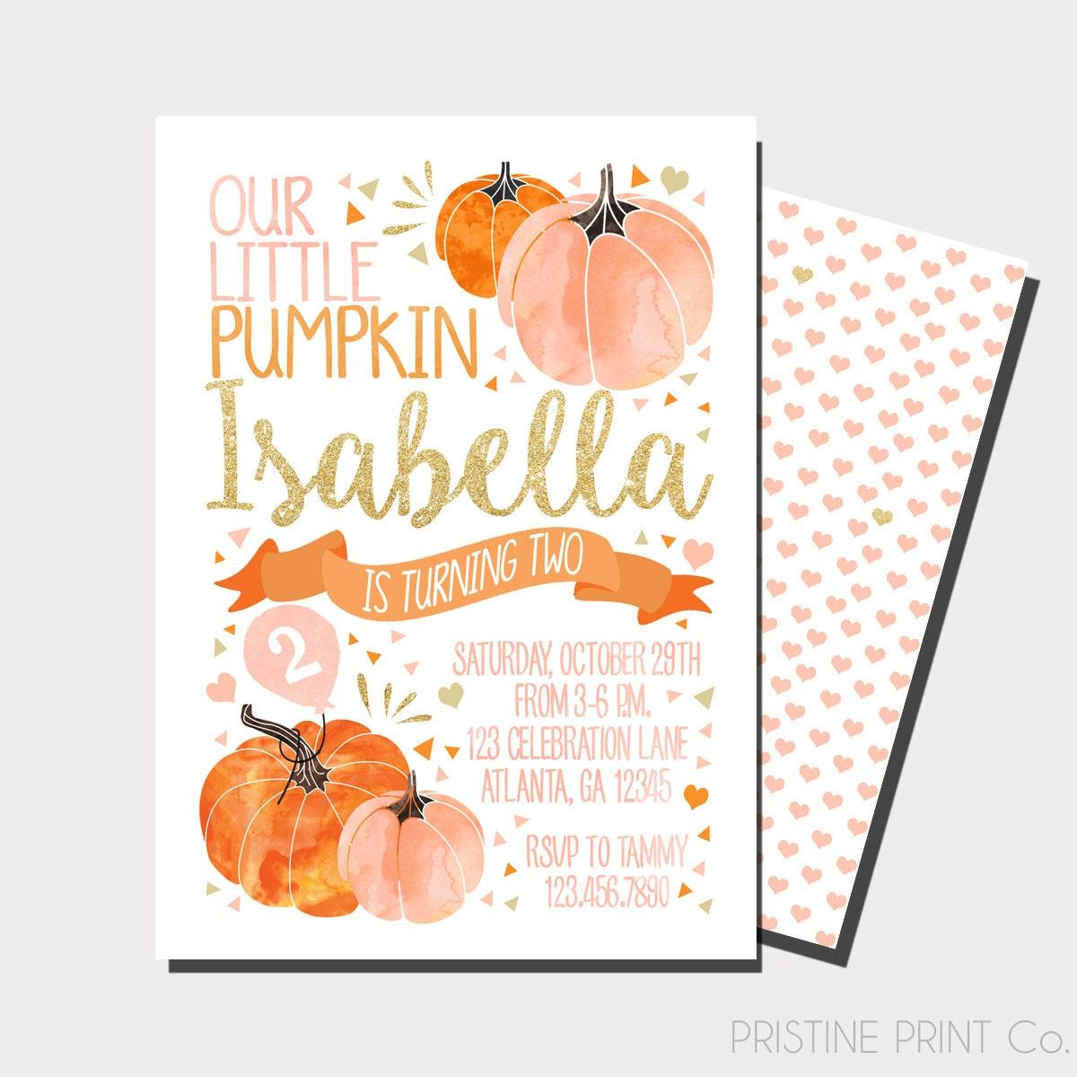 Our Little Pumpkin Birthday Invitation Pumpkin Birthday