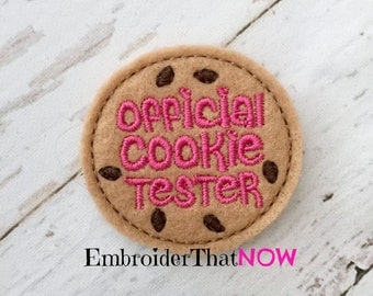 INSTANT DOWNLOAD Official Cookie Tester Feltie Embroidery Design File
