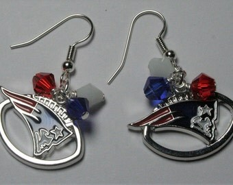 New England Patriots Earrings, Patriots Charm Earrings, Football Jewelry,  New England Patriots Fan Jewelry, Gifts For Her, Clip on Earrings