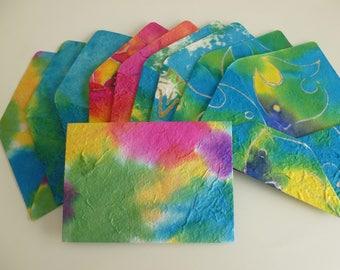 Handmade batik & multicolour C6 envelopes