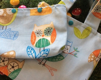 Owl fabric project bag