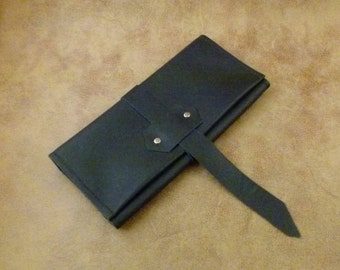 Hand Made Black Leather Pipe kit Roll...