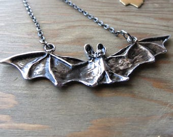 Lily Munster Necklace-Silver bat Necklace-Choose your length-Flying Bat Necklace - Vampire - Goth - Batcave - Bat jewelry - Vampire necklace