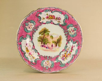 Antique Rustic Pottery Spodes Queen Mary Retro Dinner MEDIUM PLATE Victorian Pink Copeland Table English Early 1900s LS