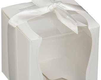 12 White Cupcake Favor Boxes with Clear Display Window and Ribbon Bow Party Favor Boxes