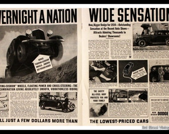 1934 Dodge Ad with Photos and Information - Wall Art - Home Decor - Sedan - Vintage Pricing - Retro Vintage Car & Auto Advertising
