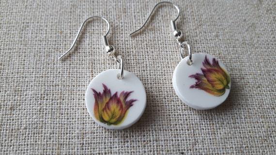Broken china earrings.  China shard earrings.  Porcelain earrings.  Unusual earrings.  Bridesmaid earrings.  Handmade in Wales UK.