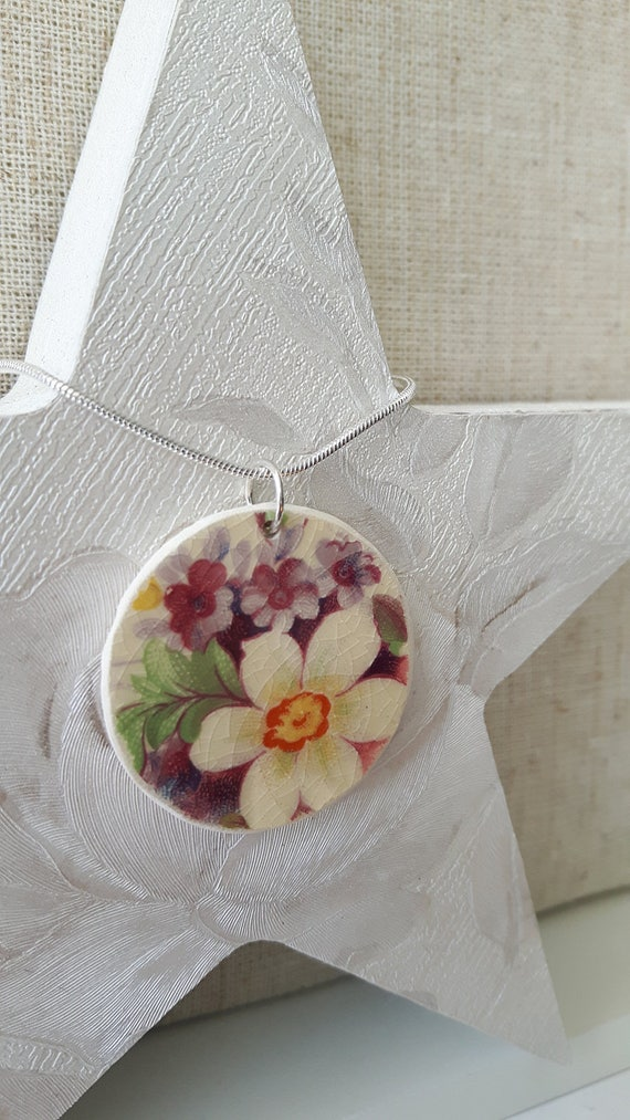 Broken china vintage porcelain pendant.  Silver snake chain.  Unusual pendant.  Floral pendant.  Handmade in Wales UK