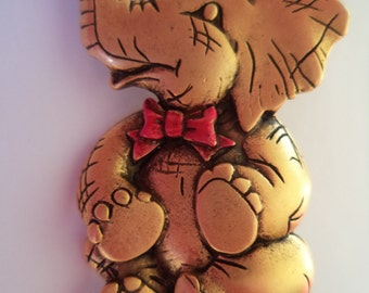 Vintage Signed JJ Gold pewter Elephant wearing Red Bow Brooch/Pin