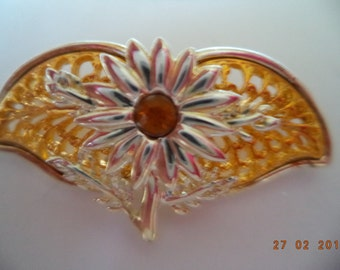 Vintage Unsigned Small Goldtone/Silvertone Flower Brooch/Pin