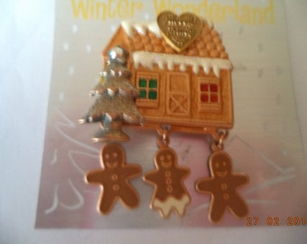 Fabulous Unsigned Goldtone Gingerbread House and Gingerbread Danglers Brooch/Pin