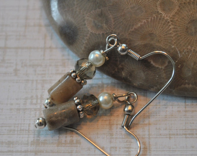 Lake Michigan Petoskey stone nugget earrings with glass pearls, champagne crystals, and sterling silver beads, Up North