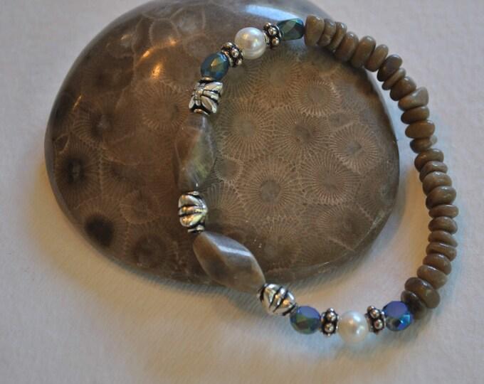Petoskey Stone stretch bracelet with freshwater pearls, blue crystals, Up North Michigan bracelet, fossil bracelet