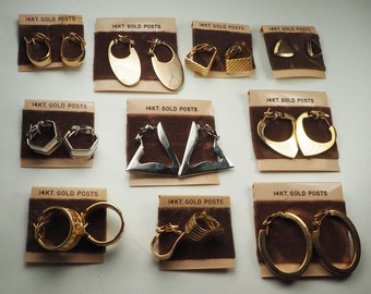 14k gold posts 10 fashion earrings collection lot