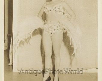 Beautiful woman circus performer acrobat vintage photo