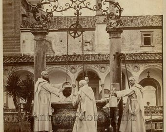 Florence Certosa monks by well antique photo Italy