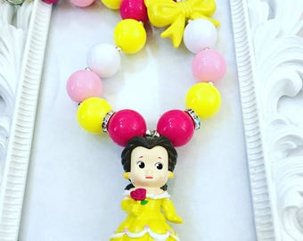 Girl's Belle Chunky Necklace, Princess Chunky Necklace, Princess Belle Necklace, Princess Necklace For Girls, Princess Jewelry,