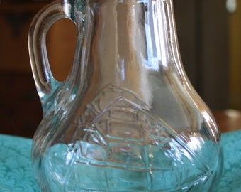 Vintage Glass Pitcher with Embossed Sailing Ship