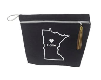 SALE~ Minnesota Home PVC Free Vinyl Lined Makeup Bag or Wet Bag with Gold Tassel- Ready to Ship
