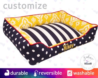Striking Yellow, Navy and Red Dog Bed | navy Blue, Corn Yellow, Lipstick Red | Washable and High Quality