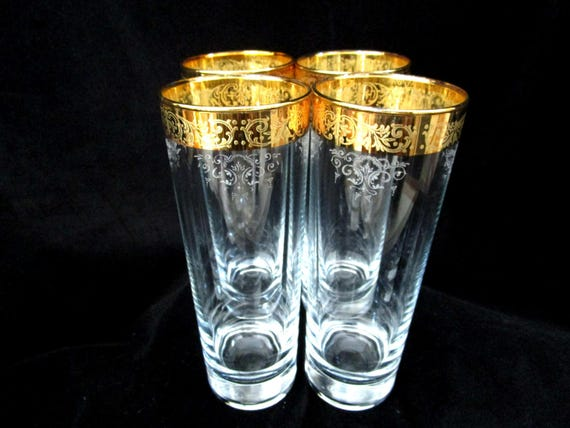 Set of 4 Mid Century Tom Collins Glasses, Gold Barware, Gold Rimmed, Etched Barware, Tall Slender Bar Glasses, Hollywood Regency Elegance