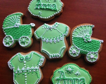 Decorated art cookies for baby shower, or birthday party. (6 pieces) Hungarian gingerbread