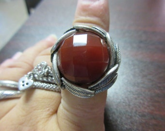 Faceted Brown Stone Ring