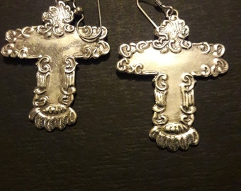 Sterling Silver Big Cross Earrings