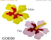 Spring Sale Bullseye COE 90 HIBISCUS FLOWER Precut 6 pc Fusible Glass Fusing Supplies