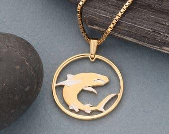 Shark pendant etsy great white shark pendant and necklace jewelry soloman island shark coin hand cut 14k aloadofball Gallery