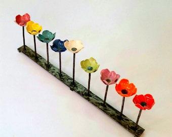 Colorful Hanukkah Menorah,Multi Color Flower Family Hanukia,Unique Floral Chanukah Candle Holder,Candlesticks,Housewarming Gift,Wedding