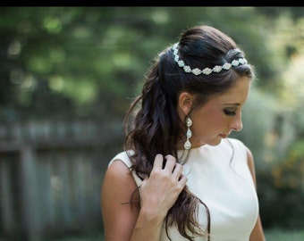 Bridal Rhinestone Headband, Gorgeous Small Rhinestone Brooches Headband, Foreheadpiece/Bohemian/Halo, Customizable :)