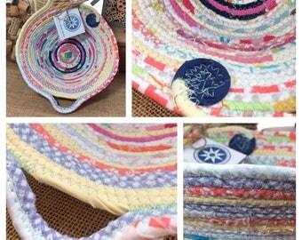 Small Egg Basket #1125- Handmade Fabric Basket  -     Home    Decor   Farmhouse Style    Gift    Storage   
