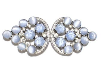 Baby Blue Molded Glass and Cats Eye Cabochons with Clear Rhinestones Belt Buckle or Sash Clasp