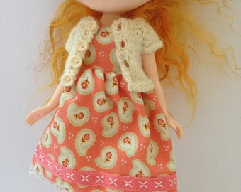 """Neo Blythe 12"""" Doll Apricot Flower Print Dress with Ribbon Trim and Matching Cream Knitted Short Sleeve Cardy"""