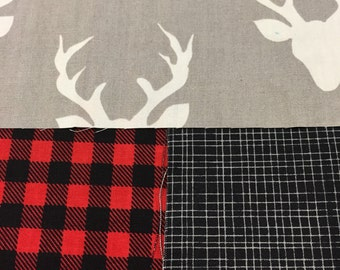 Twin bed blanket, deers, red and black checkers, black, grey or black minky on the other side