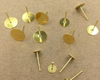 Wholesale 500 Glue on Earrings- Brass Gold Plated 5mm/ 6mm/ 8mm/ 10mm/ 12mm Round Pad Ear Posts Earring Findings