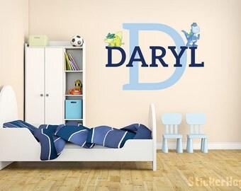 Boys Dinosaur Name Monogram Wall Decal #9 Nursery Room Kids Vinyl Wall Graphics Bedroom Decor