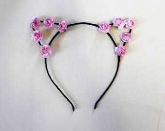 Floral Pink Cat Ears Headband