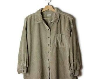 Light beige/Oatmeal Corduroy Long Sleeve Blouse from 90's*